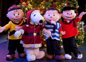Peanuts Characters in front of tree